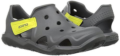 Crocs Unisex Wave Sandal Flat, Slate Grey/Tennis Ball 12 US Kid