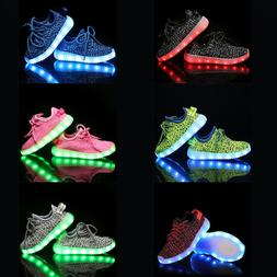 LED RGB Light Up Boys Girls Luminous Sneakers Kids Children
