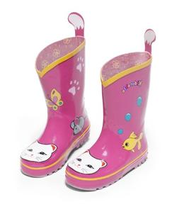 Kidorable Girls Pink Lucky Cat Print Lined Rubber Rain Boots