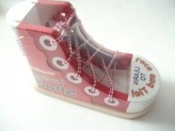 Melissa & Doug Learn to Lace and Tie Red Wooden Shoe Educati