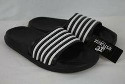 NEW Boys Flip Flops Sandals Size 1 Black White Slides Kids S