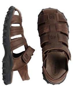 new boys leather sandals hudson brown 9
