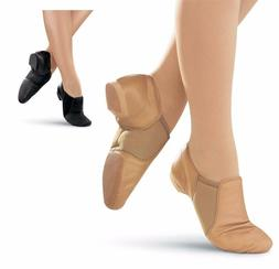 NEW Jazz Shoes Slip on Black or Tan Child to Adult Sizes Lea