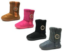 New Kids Boots Toddler Girls Cute Rhinestone Faux Fur Suede