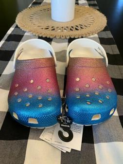 NEW Crocs Kids Classic Ombre Glitter Clog - Multiple Sizes