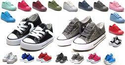 New Lace Up Low Top Youth Kids Boy Girl Canvas Shoes Walking