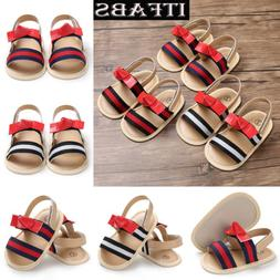 New Newborn Baby Girls Leather Sandals Toddler Kids Bowknot