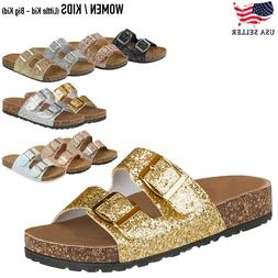 **New Women&Kids Glitter Sequins Sandals Gladiator Flip Flop