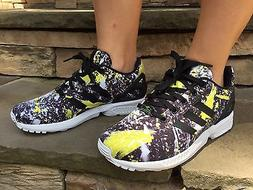 NEW Adidas ZX Flux Youth Shoes Black Yellow White Kids Unise
