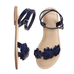 nwt navy blue flower sandals shoes kids