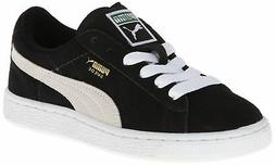 PUMA Suede Junior Sneaker  , Black/White, 13.5 M US Little K
