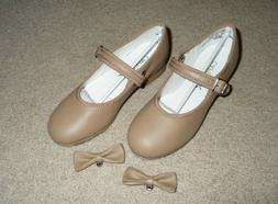 Capezio Tan Caramel leather Mary Jane tap dance shoes Girls