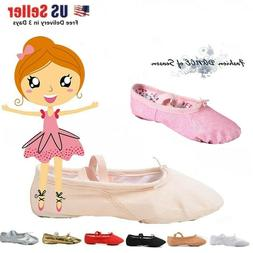 Nexete Canvas Leather Ballet Dance Slipper Shoes For Toddler