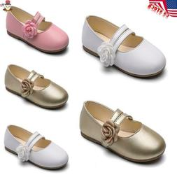 Toddler Children Kids Girl Leather Flowers Princess Shoes Sa