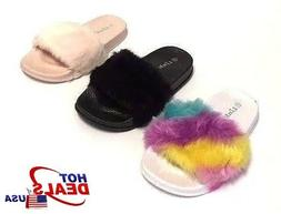 Toddler Kids Fur Slide Slippers Flats Flip Flops House Shoes