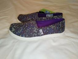 Tom's Kids Glow in the Dark Purple Outerspace Slip On Shoes