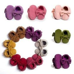 US 0-18M Baby Kids Tassel Leather Crib Shoes Moccasin Infant