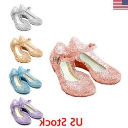 US Kids Girl Crystal Jelly Sandals Princess Frozen Elsa Cosp