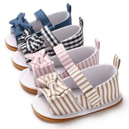 US Kids Toddler Baby Girls Sandals Striped Bowknot Hollow Sa