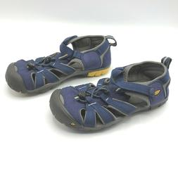 KEEN Water Shoes Sandals Kids 4 Navy Yellow Clean