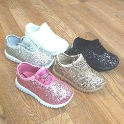 Kids Girls Sneakers Glitter Tennis Shoes Size 10-4 New